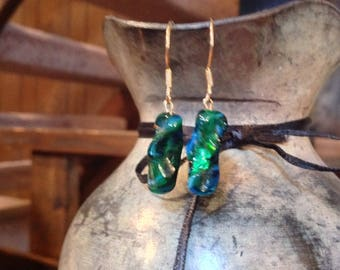 Green blue earthy dangle earrings