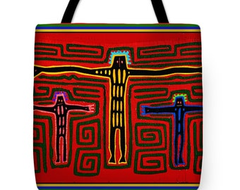 Crucifix Folk Art PolyPoplin Tote Bag - SilkyPoly Throw Pillow - Book / Laptop Bag - ReUsable Grocery Tote - Kuna Indian Housewarming Gift