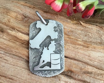 Barrel Racer Dog Tag Pendent/ Sterling silver/ Artisan Handmade and Engraved/ Rustic Ranch finish