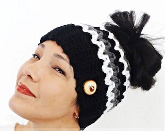 Messy Bun Beanie, Crochet Messy Bun Beanie, Top Knot Beanie, Bun Hat, Crochet Bun Hat, Ponytail Beanie, Ponytail Hat, Messy Bun hat, BLACK