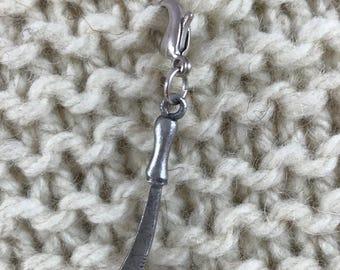 Knitting Crochet Progress Keeper - Table Knife Stitch Marker - Knit Crochet Charm - Zipper Pull - Kitchen - Cook - Fairy-Tale Kitchen