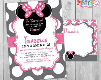 Minnie mouse 3rd birthday invitation minnie mouse birthday minnie mouse invitation oh twodles invitation 2nd birthday minnie mouse invitation free thank you bookmarktalkfo Images
