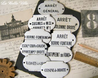 Vintage French enamel sign - One antique enameled plate - Paris apartment wall plaque - French writing - Industrial words from France