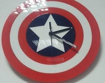 Captain America Avengers Shield Wall Clock Battery Powered Methacrylate Handmade