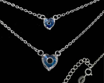 Sterling Silver Necklace - Double Chain w/ Two Mati Hearts, Made In Greece