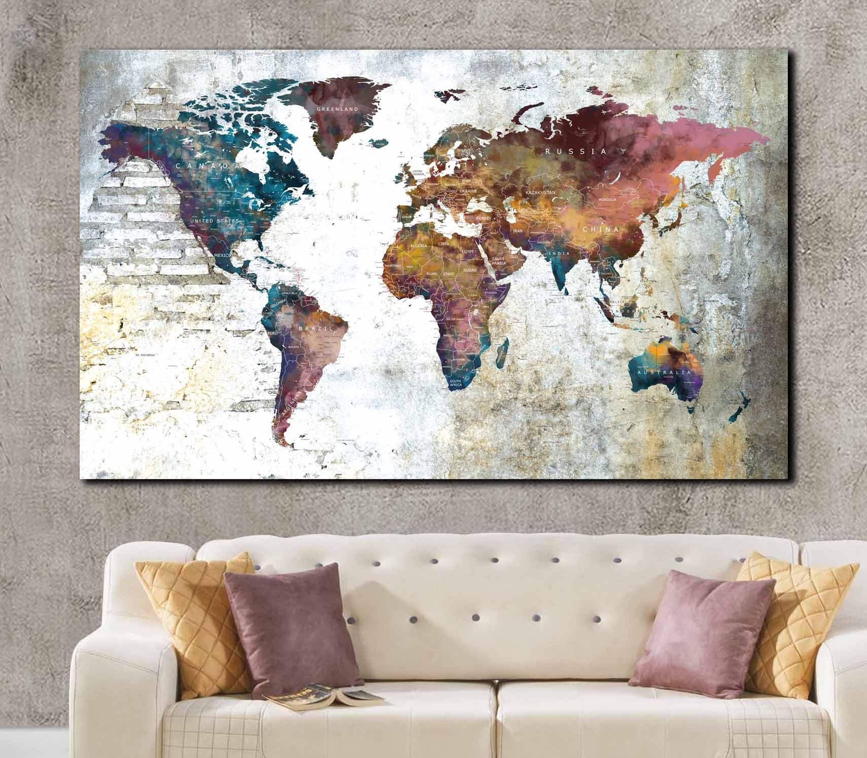World map single panel canvas print ready to hang push pin map world map single panel canvas print ready to hang push pin map world map art world map print world map canvas world travel map map art gumiabroncs Choice Image