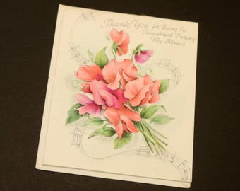 "Vintage Hallmark Greeting Card, Thank You with Envelope, 1940's, 3.5"" x 4.5"""