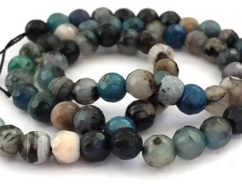 10 beads agate 6mm faceted blue/grey/brown (pg127)