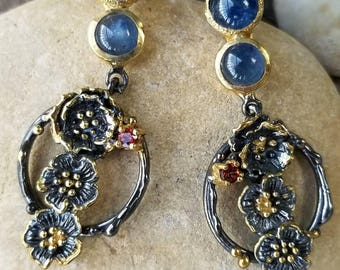 Sterling silver with 14k gold vermeil Kyanite Cherry Blossom Earrings