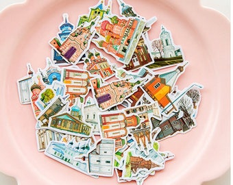 35 piece Travel City View Pattern Sticker Lot Pack