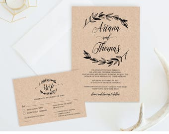 Wedding Invitation Template, Printable Rustic Wedding Invite, RSVP & Detail Card, Instant Download, Fully Editable Template, Digital #023A