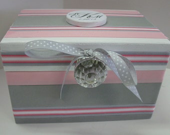 Wedding Recipe Box with Monogram Plaque- Pink and Gray