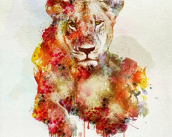 Resting Lioness watercolor painting for instant download, lioness art, wildlife, wall art, orange, yellow, big cats, aquarelle art, lioness