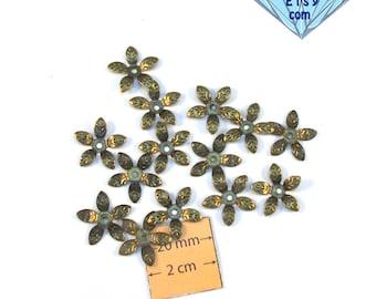 Antiqued Brass Flower 15mm Bead Cap, Sold per 12 pc, 1014-25