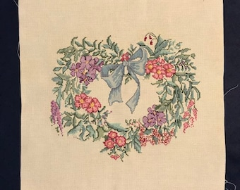 Vintage counted cross stitch wreath