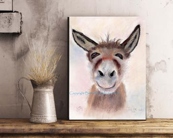 DONKEY SELFIE, A3 Canvas Wrap Print From My Pastel Art - Ready to hang