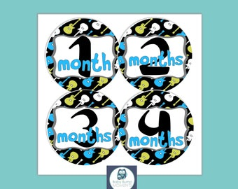 Baby Month Stickers, Monthly Milestone Stickers, Monthly Baby Stickers, Baby Boy Gift, Baby Shower Gift, Guitar