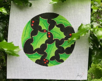 """Holly on Black 6 1/4"""" Round Hand painted Needlepoint Canvas - Jody Designs"""