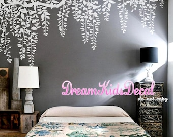 Hanging 3-colored Leaves Wall Decal for Baby Girl Nursery, Vines Decal, Butterflies Wall Sticker-Tree Branch Wall Decals-DK207