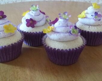 Faux cupcakes/Fake cupcakes/Fake cake/Fake food/Artificial cupcakes/Photo props/Food props/Purple cupcakes/Food decor/Kitchen decor/