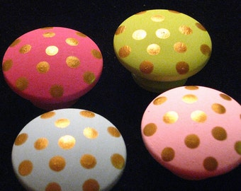 Set of 8 GOLD POLKA DOTS on Light Pink, Hot Pink, Bright Green & Baby Blue - Hand Painted Wooden Knobs Pulls