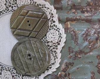 Giant Vintage Wafer Buttons (2), Two Inches