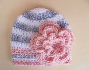 Crochet baby hat Baby girl hat Striped baby hat Newborn girl hat Girl hospital hat Crochet newborn hat Newborn photo prop Hats for babies