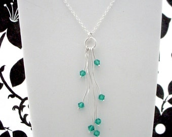 Crystal Organic Silver Necklace - Custom Swarovski Crystal Colors, Pendant with Chain, Free Shipping