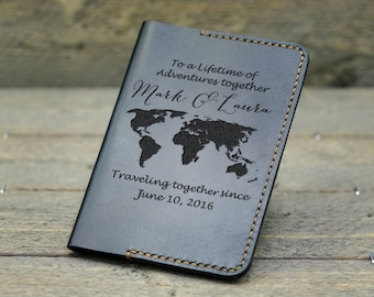 Leather Passport Wallet / Personalized Passport Holder/ Passport Cover / Gift for Couple / Anniversary Gift / Gift for mother & father -PC02