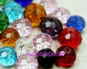 20 multicolored 6x4mm flower glass beads