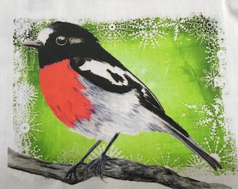Scarelt Robin  red breasted robin with winter green and snow back drop Fabric penel by Cindy Watkins  cotton