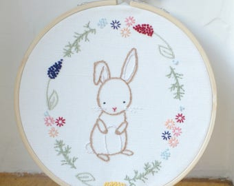 Little Bunny Embroidered Hoop // Embroidered Wall Art // Embroidery Hoop Art // Stitched Wall Art // Hand Embroidery // Handmade //Solipandi