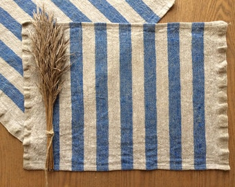 Blue Placemats, Blue Striped Placemats, Linen Placemats, Rustic Home Decor, Blue Linen Placemat, Blue Fabric Placemats, Washable Placemats