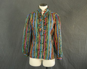 vintage 80s Tuxedo Blouse - 1980s Ruffled Striped Floral Shirt Sz M