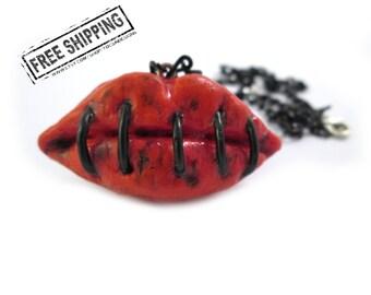 Lips creepy necklace horror jewelry zombie apocalypse zombie necklace zombie love stitched mouth creepy jewelry gothic jewelry psychobilly