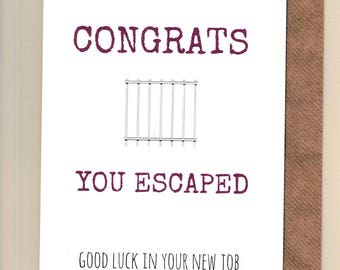Good luck cards etsy uk funny leaving new job card m4hsunfo