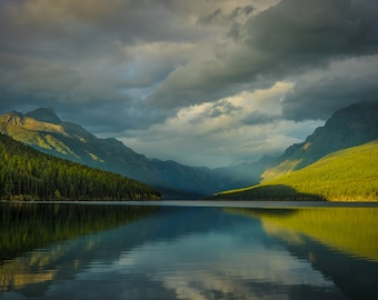 Fine Art Photography Landscape Print.  Late Evening Light In Glacier National Park, Montana.