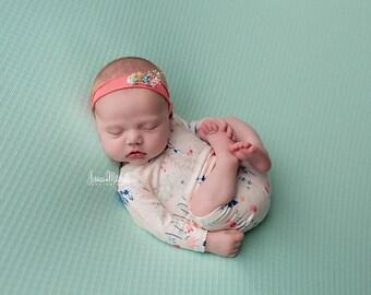 Coral Newborn Tieback Headband, Tie Back Prop, Newborn Headband Prop, Floral Headband Baby, Newborn Photography Props, Tiebacks for Newborns