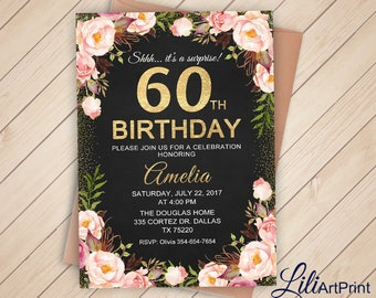 60th Birthday Invitation, Floral Women Birthday Invitation, Any Age Birthday Invite, Gold Invitation, Digital file, 14