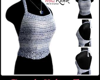 Simple halter top pdf crochet pattern ( size S - 3XL )