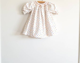 Vintage White Heart Flannel Baby Nightgown
