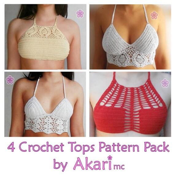 Artículos similares a 2 patrones gratis de crochet. 2 sujetadores ...