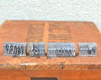 Will you marry me - Vintage letterpress - Valentine's day gift - unique engagement, marriage proposal TS1001
