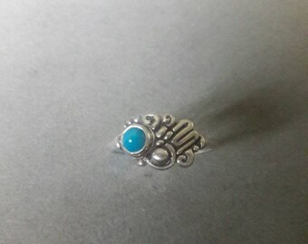 Sterling Silver Modern Abstract Asymmetric Swirl Squiggle Turquoise Ring, #R54SST