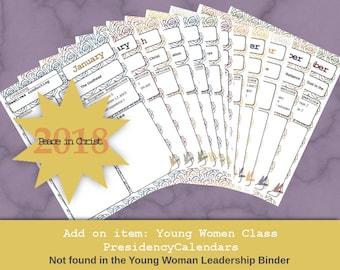 25 % off Editable 2018 Young Women Class Presidency Calendar add-on kit for Leadership binder