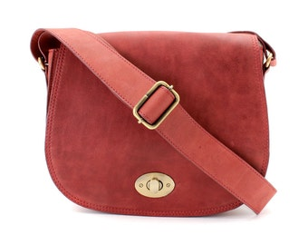 Red Leather Saddle Bag/ Leather Cross Body Bag/ Leather Satchel/ Leather Messenger Bag