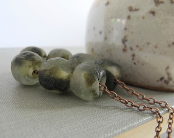 Copper Necklace, Recycled Glass, Glass Necklace, Olive Green Glass, Clear and Black, Copper Chain, Copper Jewelry, Glass Jewelry