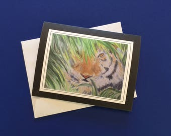 Tiger Note Card.  Watercolor print card with envelope.