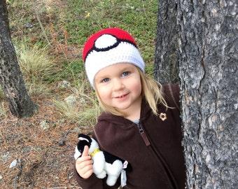Pokeball Crochet Hat - Newborn - Adult