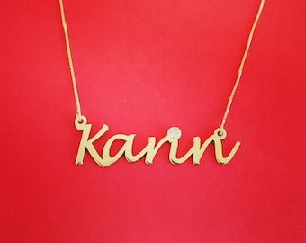 Pure Gold Name Necklace 14kt Nameplate Necklace Name Pendal Necklace Personalized 14k Gold Nameplate Necklace Gold Chain With Name Pendant